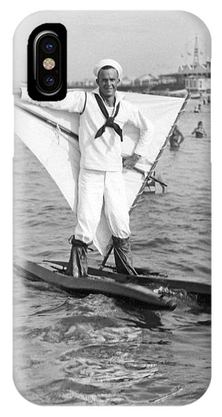 Water Ski iPhone Case - Early Wind Surfer In 1926 by Underwood Archives