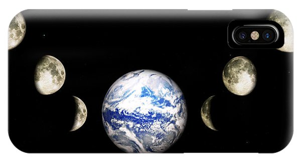 IPhone Case featuring the digital art Earth And Phases Of The Moon by Bob Orsillo