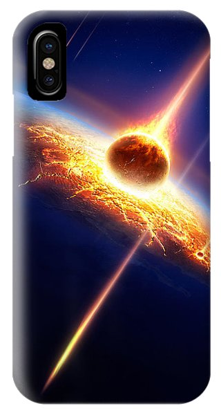 Explosion iPhone X Case - Earth In A  Meteor Shower by Johan Swanepoel