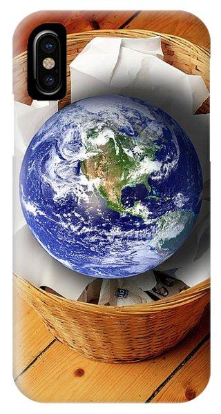 Rubbish Bin iPhone Case - Earth In Bin by Victor De Schwanberg
