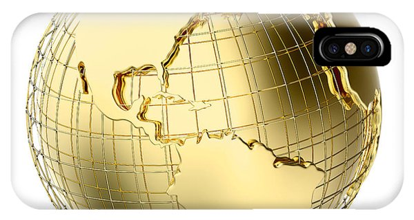 Global iPhone Case - Earth In Gold Metal Isolated On White by Johan Swanepoel