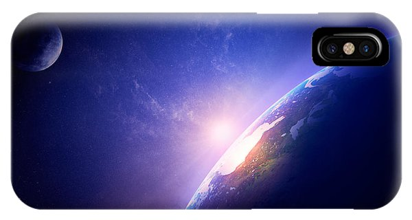 Sun Rays iPhone Case - Earth Sunrise In Foggy Space by Johan Swanepoel