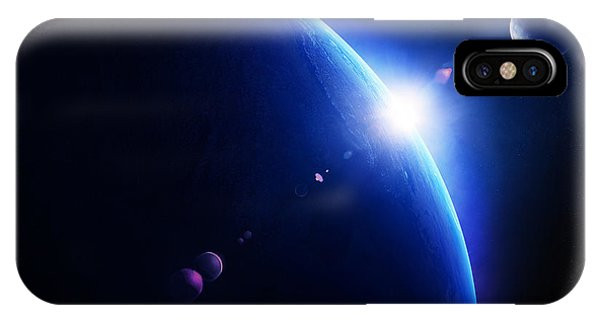 Dark Blue iPhone Case - Earth Sunrise With Moon In Space by Johan Swanepoel