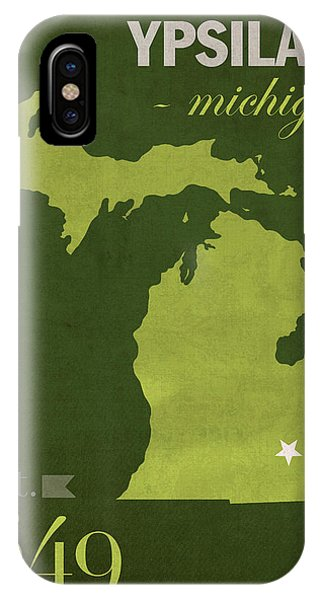 Eastern Michigan University Eagles Ypsilanti College Town State Map Poster Series No 035 IPhone Case