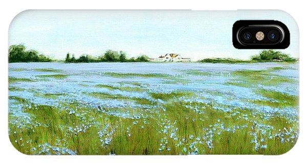 Eastern Shore Maryland Field Of Blue Flowers IPhone Case