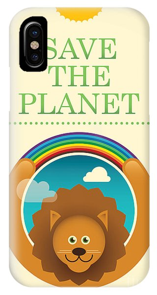 Humor iPhone Case - Ecology Poster With Comic Lion. Vector by Radoman Durkovic