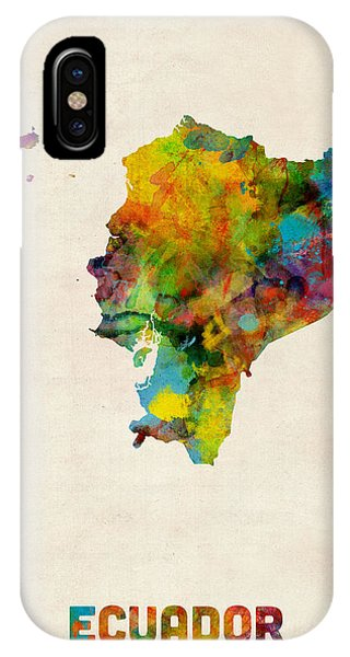 Print iPhone Case - Ecuador Watercolor Map by Michael Tompsett