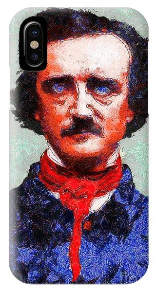 Dark Humor iPhone Case - Edgar Allan Poe Inspired By Van Gogh 20140921 by Wingsdomain Art and Photography