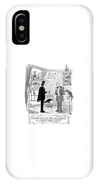 Raven iPhone Case - Edgar Allan Poe Returns A Christmas Gift by Edward Frascino