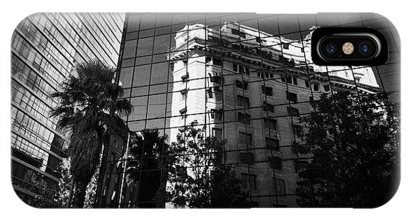edificio ariztia building reflected in modern bank buildings in the financial district of Santiago Chile Phone Case by Joe Fox