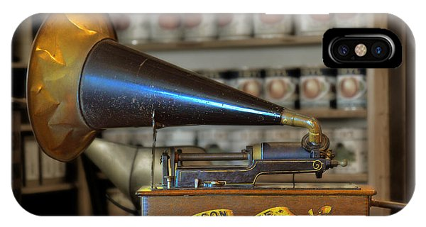 Edison Home Phonograph With Morning Glory Horn IPhone Case