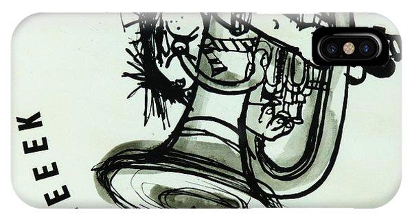 Trombone iPhone X Case - Eeeeeeek! Ink On Paper by Brenda Brin Booker