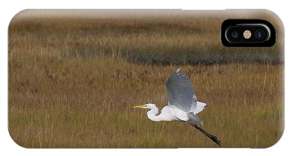 Egret In Flight Over Swamp Grass IPhone Case