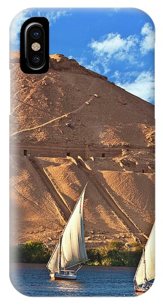 East Africa iPhone Case - Egypt, Aswan, Nile River, Felucca by Miva Stock