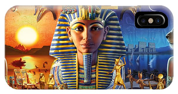 Pharaoh iPhone Case - Egyptian Triptych 2 by MGL Meiklejohn Graphics Licensing