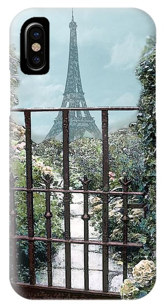 Eiffel Garden In Blue IPhone Case