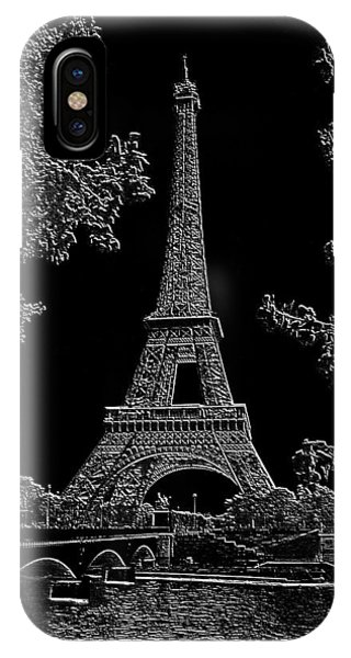 Eiffel Tower Charcoal Negative Image Dark Phone Case by L Brown