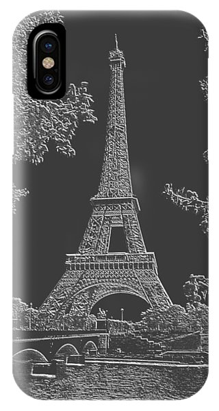 Eiffel Tower Charcoal Negative Image Phone Case by L Brown