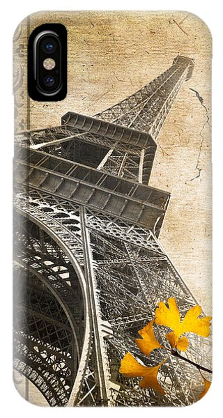Old iPhone Case - Eiffel Tower Vintage Collage by Delphimages Photo Creations