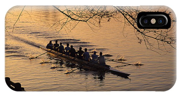 Eight Man Crew Rowing Along Montlake Cut  IPhone Case