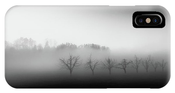 Mist iPhone Case - Eight Trees In The Mist by Nic Keller