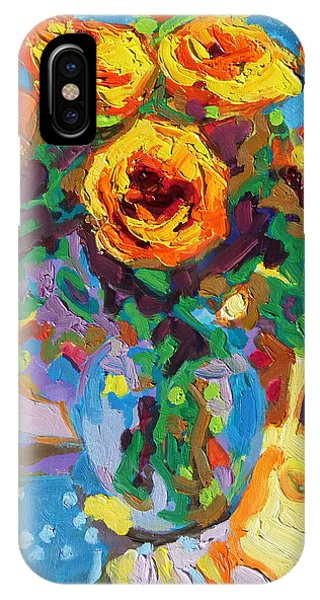 Eight Yellow Roses Oil Painting Bertram Poole Apr14 IPhone Case