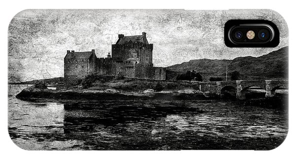 Eilean Donan Castle In Scotland Bw IPhone Case