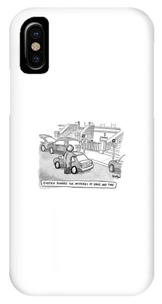 Sign iPhone Case - Einstein Is Seen Standing Next To A Parked Car by Robert Leighton