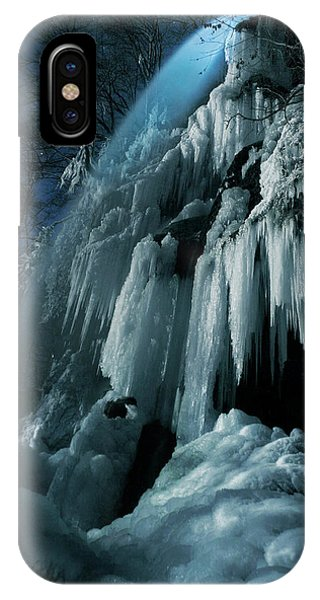 Moonlight iPhone Case - Eisfall Im Mondlicht by Nicolas Schumacher