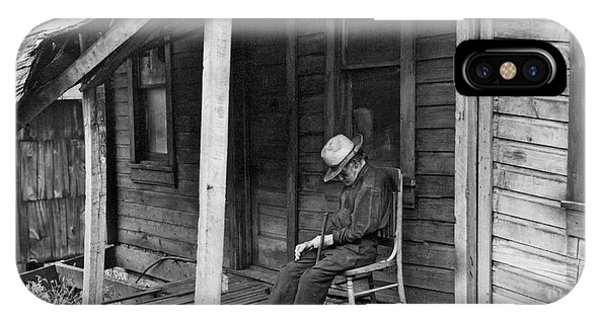 Porches iPhone Case - Elderly Man Doses On His Porch by Underwood Archives