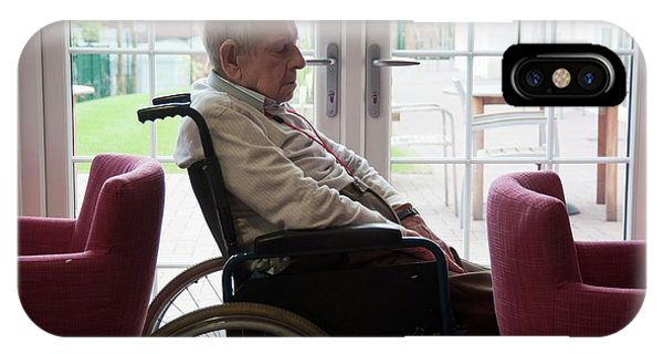 Assisted Living iPhone Case - Elderly Man In A Wheelchair by John Cole/science Photo Library