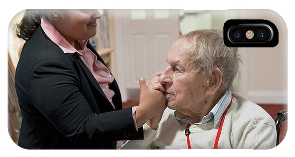 Assisted Living iPhone Case - Elderly Man With Carer by John Cole/science Photo Library