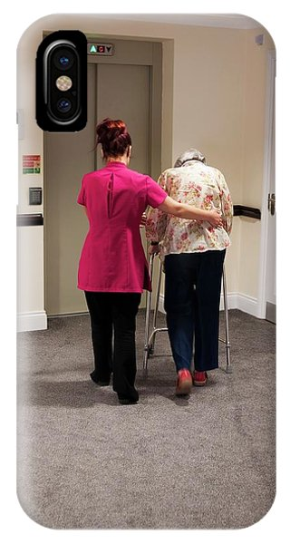Assisted Living iPhone Case - Elderly Woman With Carer by John Cole