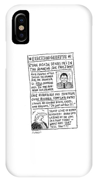 Again iPhone Case - Election Gazette by David Sipress
