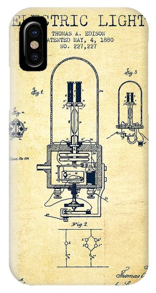 Light iPhone Case - Electric Light Patent From 1880 - Vintage by Aged Pixel