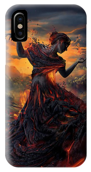 Red iPhone X Case - Elements - Fire by Cassiopeia Art