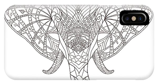 Tribal iPhone Case - Elephant. Black And White Hand Drawn by Fosin