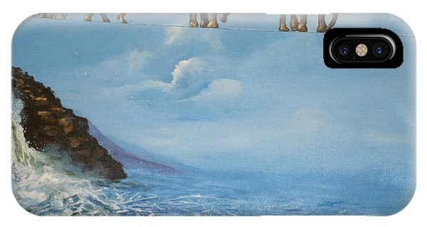 Elephant Family On A Tightrope Phone Case by Barbara Gray