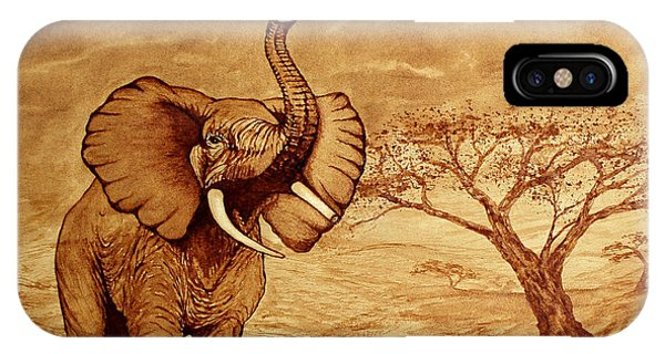 Elephant Majesty Original Coffee Painting IPhone Case
