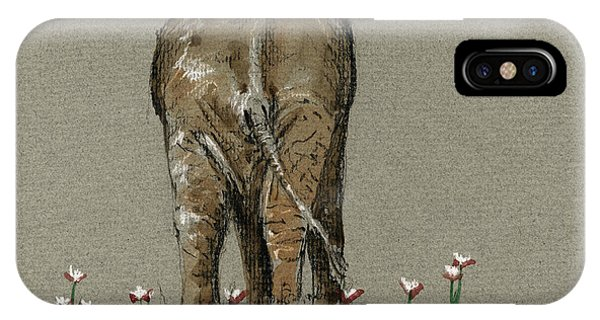 Back iPhone Case - Elephant With Water Lilies by Juan  Bosco