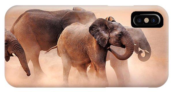 Mammal iPhone Case - Elephants In Dust by Johan Swanepoel