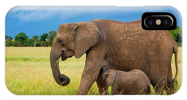 Elephants In Masai Mara IPhone Case