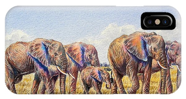 Elephants Walking IPhone Case