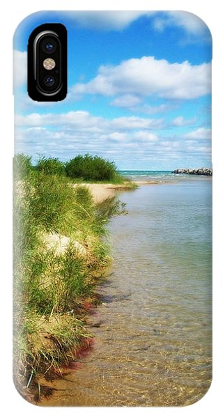 Elk River With Fluffy Clouds IPhone Case