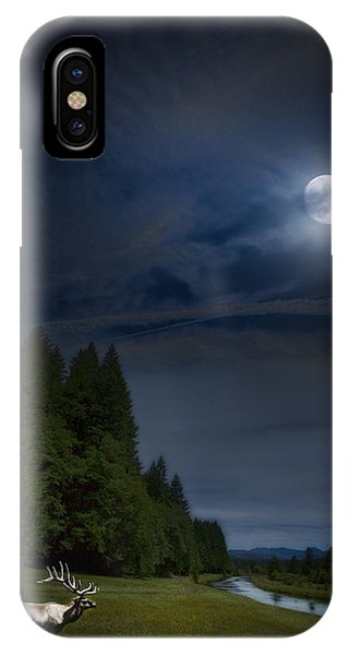 Elk Under A Full Moon IPhone Case