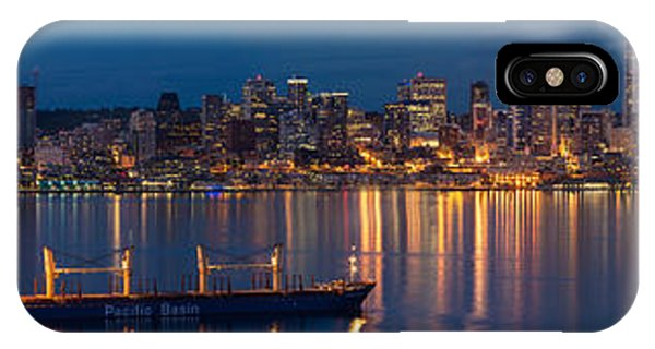 Seattle Skyline iPhone Case - Elliott Bay Seattle Skyline Night Reflections  by Mike Reid
