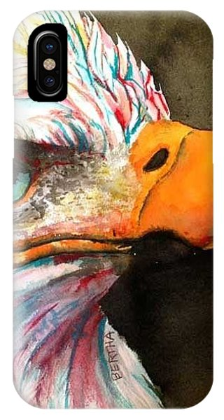 IPhone Case featuring the painting Elton Eagle Means Business by Karen bertha Calderon