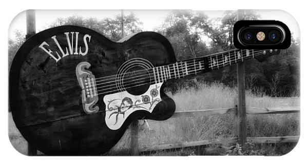 Tiki Bar iPhone Case - Elvis Guitar In Black And White by Bill Cannon