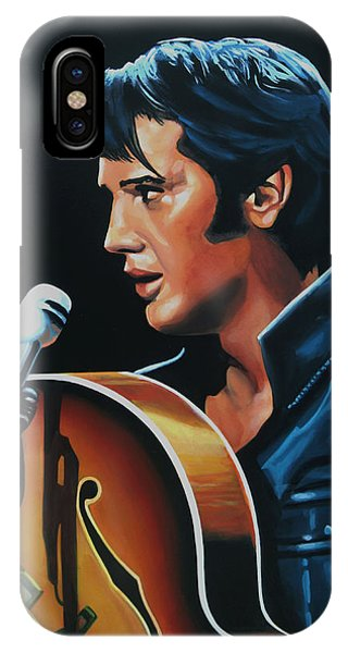 Rock And Roll iPhone X / XS Case - Elvis Presley 3 Painting by Paul Meijering