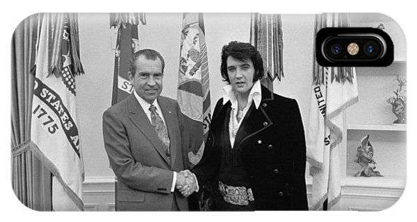 Elvis Presley And Richard Nixon-featured In Men At Work Group IPhone Case
